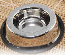 Non Tip Pet Bowls With Anti-Skid Ring Top Embossed