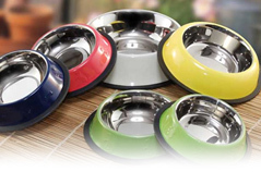 Non Tip Pet Bowls With Anti-Skid Ring In Color